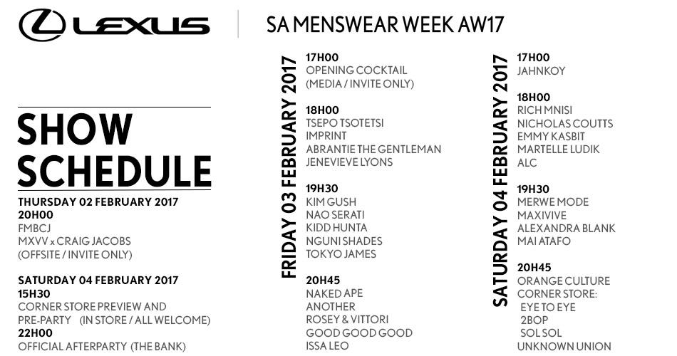 Lexus SAMW Schedule AW17