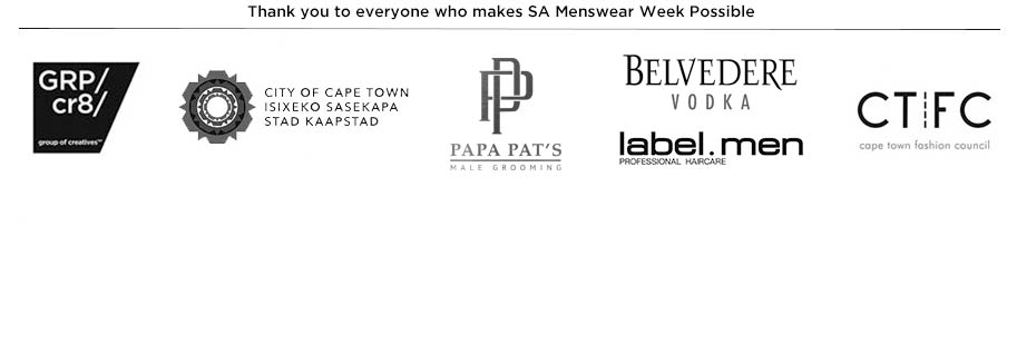 Thank you to our sponsors for SA Menswear Week
