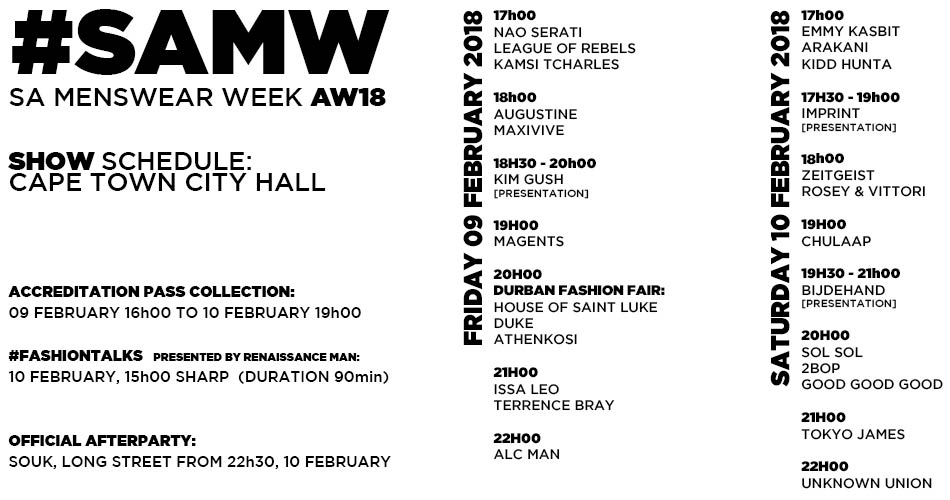 AW18 Schedule
